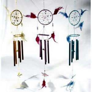 IND5306. Dream Catcher chime with butterfly~Medium size Dream Catcher with Wind Chime.